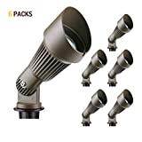 Lumina Low Voltage Landscape Lighting Waterproof Outdoor Spotlights for Walls Trees Flags Adjustable Knuckle Aluminum Housing with Warm White 20W Halogen Bulb and Ground Stake Black SFL0102-BZ6 (6PK)