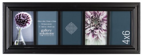 (Gallery Solutions Traditional 5 Opening Collage Picture Frame, Displays Five 4x6 Images, Black)
