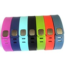 Set 7 Large L 1pc Purple 1pc Navy 1pc Lime Green 1pc Teal (Blue/Green) 1pc Black 1pc Red (Tangerine) 1pc Slate (Blue/Grey) Replacement Bands with Clasps for Fitbit FLEX Only /No tracker/ Wireless Activity Bracelet Sport Wristband FitBit Flex Bracelet