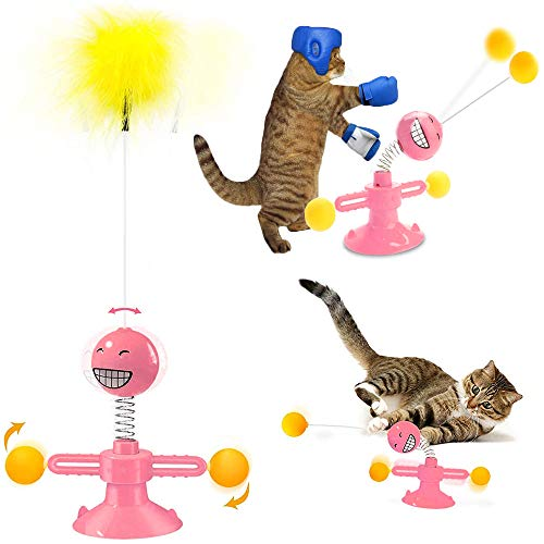WeChip Cat Toys for Indoor Cats,Windmill Interactive Cat Toy with Turntable Teasing Feather Stick Suction Cup Base Funny Kitten Feather Ball Toys for Cats Cradle String Game