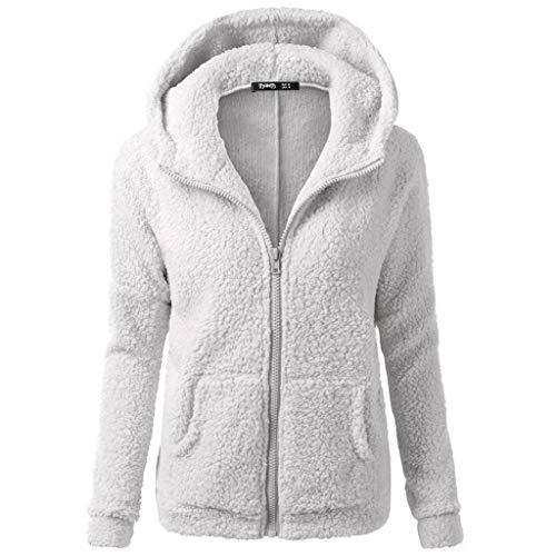 KASAAS Womens Trend Hooded Sweater Coat Winter Warm Wool Zipper Coat Cotton Jackets Outwear(XX-Large,Light Gray)