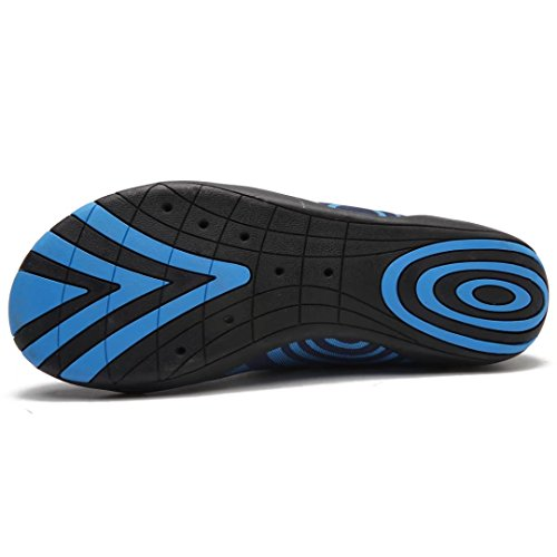 HOBIBEAR Männer Quick Dry Slip-On Wasserschuhe Leichte Barfuß Aqua Socken für Yoga Beach Pool Bootfahren Blau