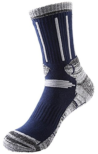 Langxi Men's Outdoor Skiing Climbing High Terry Socks Full Cushion General Athletic (Shoe 6-12, Navy)