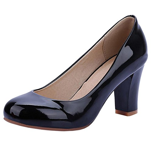 COOLCEPT Women Fashion Synthetic Patent Round Toe High Heels Court Shoes Black zu6AtwPrz