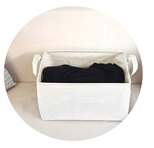 Asteria-Ashley Linen Beige Striped Drawstring Storage Basket for Dirty Clothes Toys Books Cosmetic Organizer Home Storage Organization,01 S Size]()