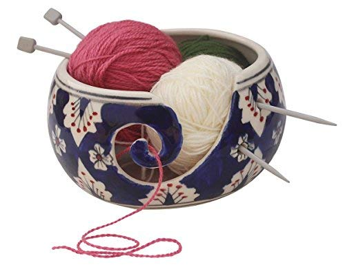 """Big Sale Offer - ARB Exports - Ceramic Blue White 7"""" Yarn Bowl for Knitting, Crochet for Moms - Beautiful Gift on All Occasions. A Perfect Gift for Moms, Dads and Grandmothers"""