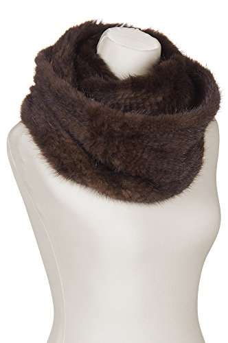 Knitted Mink Fur Infinity Scarf, MAHOGANY, Size 1 Size by Overland Sheepskin Co