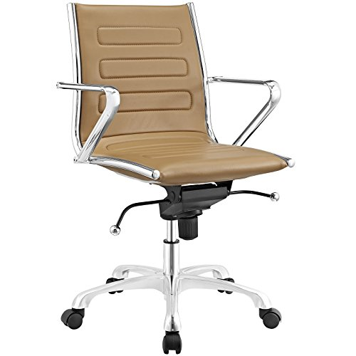 Modway Ascend Faux Leather Adjustable Swivel Office Chair in Tan