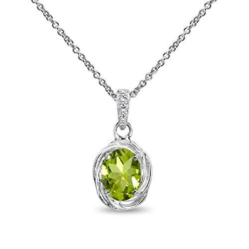 Sterling Silver Peridot & Cubic Zirconia 8x6mm Oval Bezel-Set Love Knot Pendant Necklace