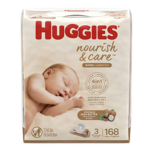 HUGGIES Nourish & Care Baby Wipes, Sensitive Skincare, Scented, 3 Flip-top Pack, 56Count (168 Wipes Total), 3.400lb(Pack Of 3)