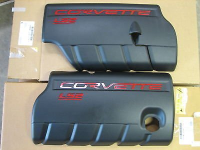 Performance Corvettes 2005-207 Corvette C6 LS2 Fuel Rail Engine Covers Black with Red Lettering OEM GM