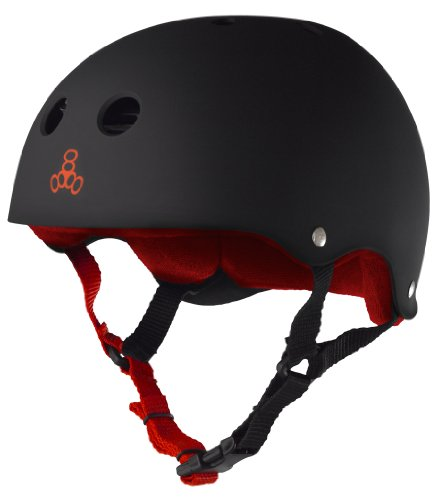Triple Eight Helmet with Sweatsaver Liner, Black Rubber/Red, XX-Large