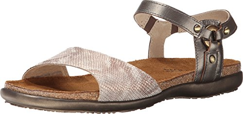 Naot Footwear Women's Sabrina Snake Beige Leather/Pewter Leather Sandal 37 (US Women's 6) M