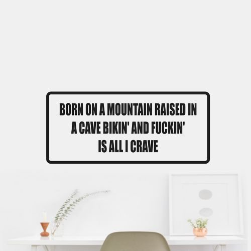 Born on mountain raised in a cave bikin' and fuckin' Sticker Decal Outdoor Vinyl Car Wall Hot Pink (Matte-Removable) 56