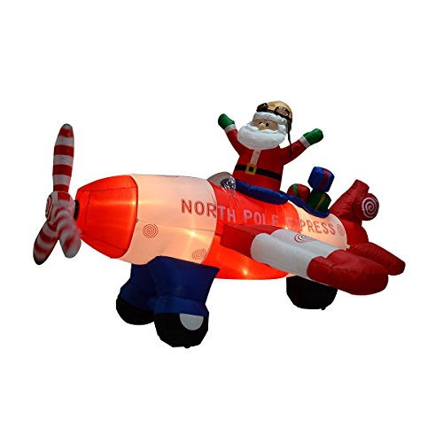 LHONE 8 Foot Wide Christmas Inflatable Xmas Santa Claus Flying Airplane Blow Up Yard Decoration Funny Giant Christmas Figures Airblown