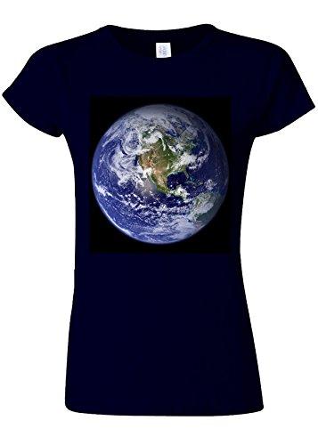 心のこもった病気だと思う拳Earth World from Moon Funny Novelty Navy Women T Shirt Top-M