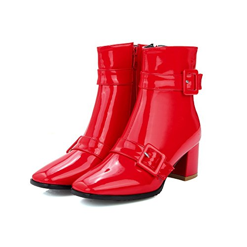 Da Kitten Low Pu Solid Boots heels Catene Allhqfashion Donna Red top HqCxw545