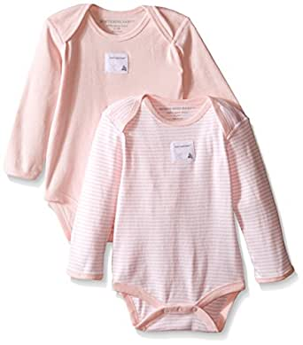 Burt's Bees Baby - Set of 2 Bee Essentials Long Sleeve Bodysuits, 100% Organic Cotton,  Blossom,  0-3 Months