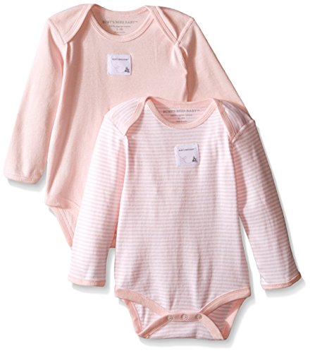 100% Cotton Bodysuit Set - Burt's Bees Baby - Set of 2 Bee Essentials Long Sleeve Bodysuits, 100% Organic Cotton,  Blossom,  0-3 Months