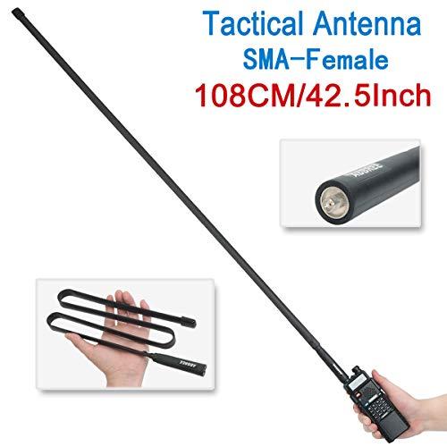42.5-Inch Length ABBREE SMA-Female Dual Band 144/430Mhz Foldable CS Tactical Antenna for Baofeng UV-5R UV-82 BF-F8HP Ham Two Way Radio