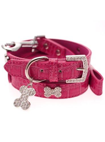 UrbanPup Bruiser's Legally Blonde Pink Leather Diamante Collar / Diamante Bone Charm and Leash Set (Medium – Dog Neck Circumference, adjusts: 11″ to 14″ / 28cm to 35cm), My Pet Supplies