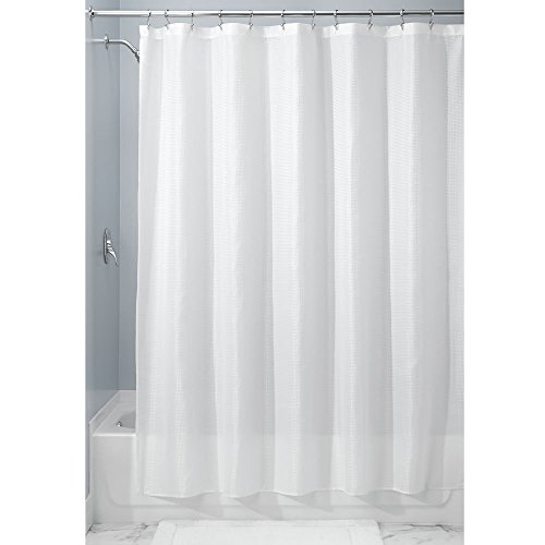 Carlton Toilet - InterDesign Carlton Extra Wide Polyester Fabric Waffle Weave Shower Curtain for Bathroom – Pack of 2, White