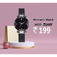 Avicii Single Diamond Series Black Megnatic Watch for Girl's and Women's Pack of - 1(AV200)
