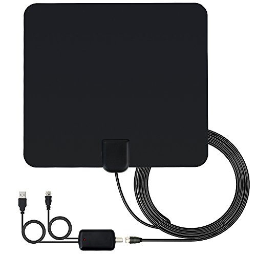 Indoor TV Antenna Amplified HDTV Antenna 60 Miles Range Amplified Digital TV Antenna with New Version Amplifier and 16.5 FT Coaxial Cable(Black)