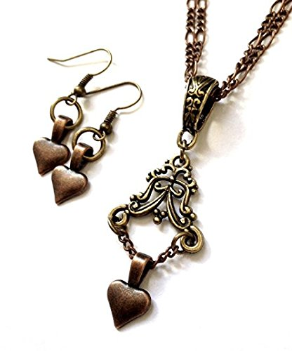 8th Wedding Anniversary Gift for Her - Vintage Heart Jewelry Set - Boxed & Gift (Gift Wrapped Heart)