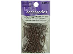 antique copper 75 pc headpins-25 eye pins - Pack of 30