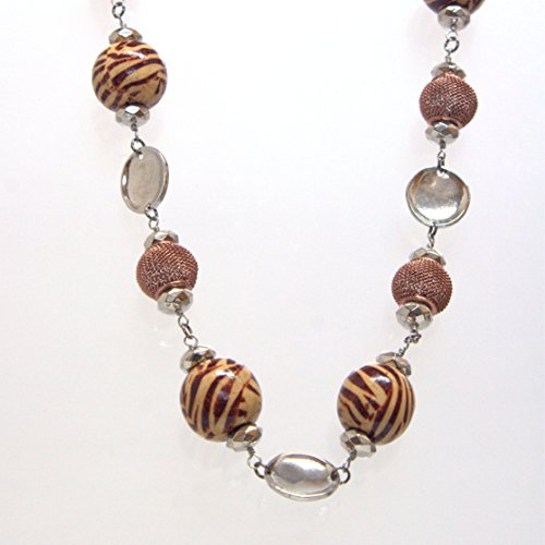 Mixed Media Brown Chunky Beads Necklace - Steel Color Saucer Plate Links, 16-inch