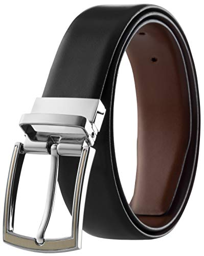- Men's Reversible Classic Dress Belt Italian Top Grain Leather Black & Brown Prospero Comfort