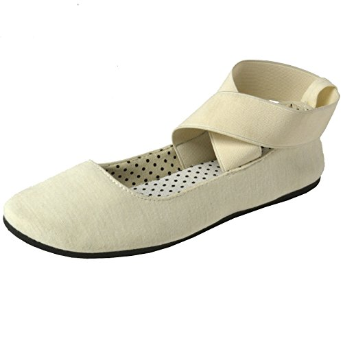 alpine swiss Peony Womens Ballet Flats Elastic Ankle Strap Shoes Cream 9 M US