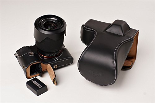 ソニー α7 α7S用本革レンズカバー付カメラケース(28-70mm用) (電池,SDカード交換可) ブラック B07T49FTGT レンズカバー付ケース&ストラップTP09&バッテリーケース FreeSize