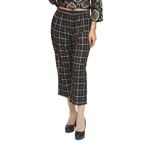 Vaibhav Designing Checks Plazzo Pants High Waist Ankel Length for Girls & Women Printed Casual Wear (Black)