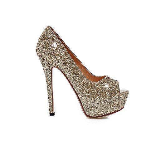 BalaMasa Womens Sequins High-Heels Gold Soft Material Sandals - 9 B(M) US