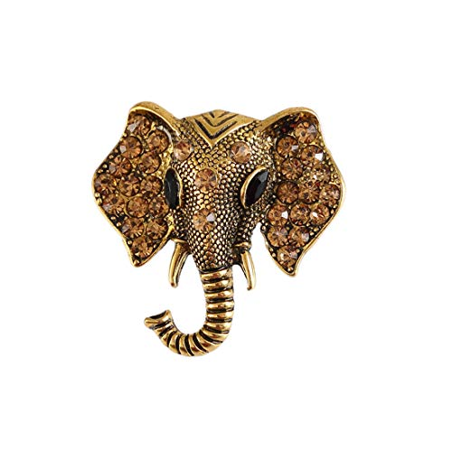 - Vintage Elephant Crystal Brooches Women Girls Retro Animal Corsage Clothes Accessories-Gold