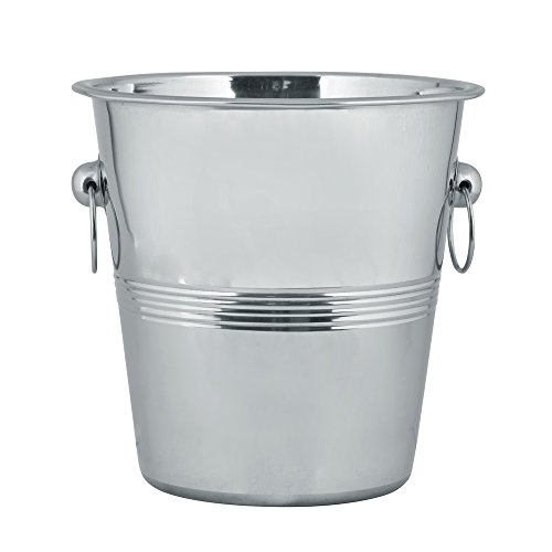 Champagne Ribbed - Kosma Stainless Steel Champagne Bucket | Bottle Cooler | Ice Bucket Ribbed Design - 21 x 21cm