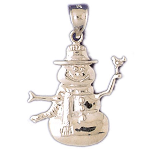 14K Yellow Gold Snowman Pendant - 29 mm (Snowman 14k Yellow Gold)