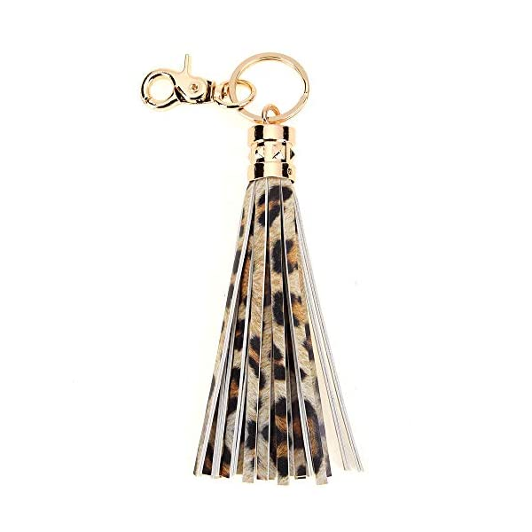 Tassel Keychain for Women Bag Charm with Leather Tassels Accessories for Key Handbag Purse Phone Wallet Unique Gift