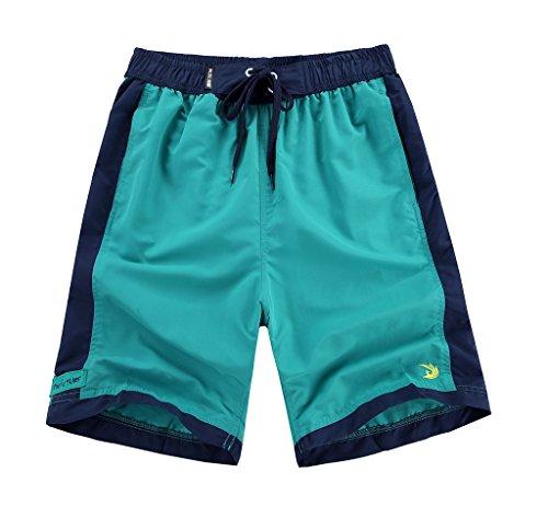 Madhero Men's Beach Shorts Rainbow Color Board Shorts 4820# (US XL, Jade/Navy)