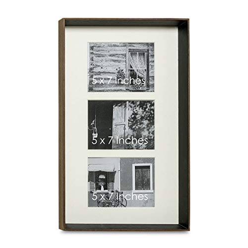 Chelsea Photo - Chelsea Art Gallery Frame, For 3 Pictures, Double Window Bevel Cut Ivory Matte, Each Opening is 5 x 7 Inches, Quality Solid Wood, Brown and Black. Overall 20 x 12 3/4 Inch Rectangle