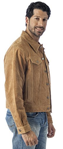 Reed's Men's Western Jean Style Suede Leather Shirt Jacket (M, CAMEL)