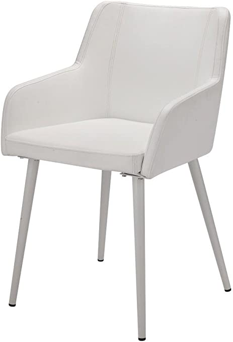silla piel sintética blanco y metal