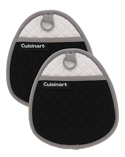 Cuisinart Quilted Silicone Pot Holders and Oven Mitts with Soft Insulated Pockets, 2pk - Heat Resistant Hot Pads, Potholder, Trivets with Non-Slip Grip to Safely Handle Hot Cookware - Jet Black