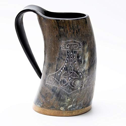 Norse Tradesman Genuine Viking Drinking Horn Mug - 100% Natural Beer Horn Tankard w/Thor's Hammer Engraving |