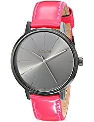 Nixon Womens A1081394 Kensington Black Stainless Steel Watch with Bright Pink Leather Band