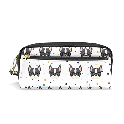 Pencil Bag Pen Case Animal Boston Terrier- Stationery Pouch Makeup Holder Cosmetic Box for School Office, ChunBB PU Leather