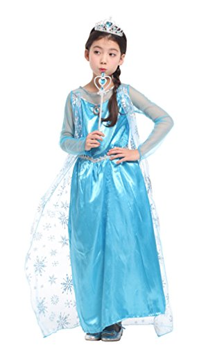 Spooktacular Girls' Ice Princess Elsa Dress-Up Costume Set with Fairy Wand, L