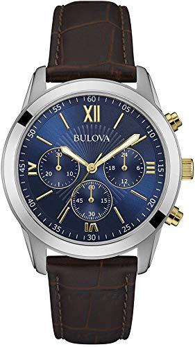 Bulova 98A151 Men's Brown Leather Band Blue Dial Sports Dress Chronograph Watch